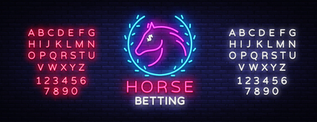 Horse Betting Neon Sign Vector. Horse Betting Logo in Neon Style, Design Template. Horse racing symbol, icon, emblem. Light banner, bright night advertising. Vector. Editing text neon sign  イラスト・ベクター素材
