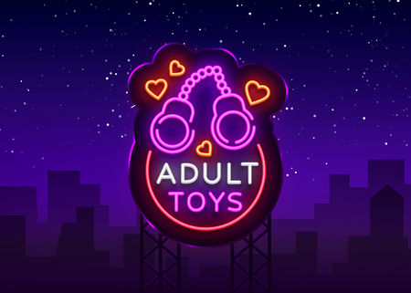 Adult toys logo in neon style.