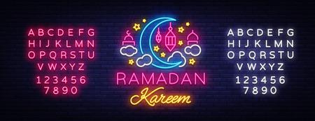 Ramadan Kareem greeting cards, neon sign. Design template, light banner, night neon advert. Ramadan Kareem - Glorious month of Muslim year. Vector illustration. Editing text neon sign. Illustration