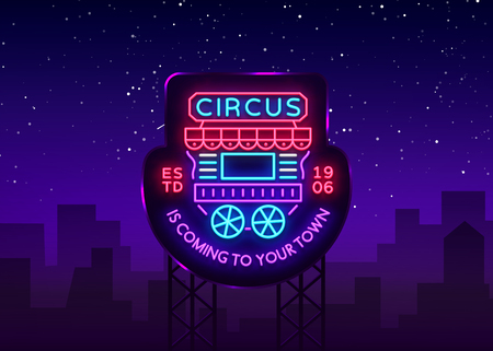 Circus truck logo in neon style. Design template with trailers. Neon sign, light banner, design element, bright night advertising for your projects. Sitting on wheels. Vector. Billboard.