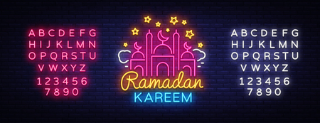 Ramadan Kareem greeting cards, neon sign. Design template, light banner, night neon advert. Ramadan Kareem - Glorious month of Muslim year. Vector illustration. Editing text neon sign. Ilustração