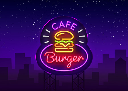 Burger cafe neon sign. Fastfood burger sandwich neon style logo, bright banner, design template, night neon advertising for dining, cafe, restaurant, snack bar, street food. Vector. Billboard.  イラスト・ベクター素材