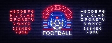 Soccer championship logo neon vector. Soccer neon sign, European Football Cup 2018, Light Banner, Design Template whit Russian Earflaps, Soccer Russia, neon signboard. Editing text neon sign. Illusztráció