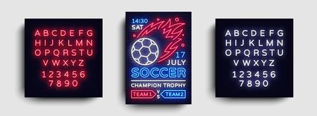 Soccer poster neon vector. Football postcard flyer design template, light banner, bright brochure soccer championship, invitation to European football, typography. Vector. Editing text neon sign.