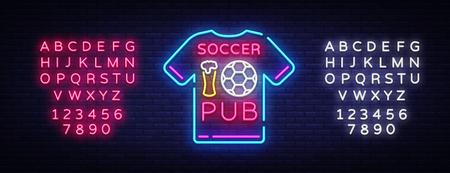 Soccer Pub Neon Sign Vector. Football Pub icon neon, T-Shirt concept, light signboard, billboard, night neon advertising, sports bar, pub, football online, fan club. Vector. Editing text neon sign.
