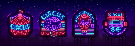 Circus collection of neon signs. Set of logos for circus in neon style, circus symbol, neon banner, bright nightly advertisement of circus show, magic show. Design template. Vector. Billboard. 스톡 콘텐츠 - 100826978