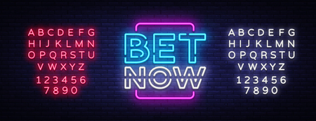 Bet Now Neon sign vector. Light banner, bright night neon sign on the topic of betting, gambling. Editing text neon sign