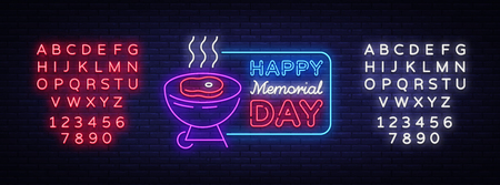 Happy greeting card for Memorial Day neon sign. Happy day of memory - barbecue grill BBQ banner in neon style, celebration of the holidays. Vector illustration. Editing text neon sign