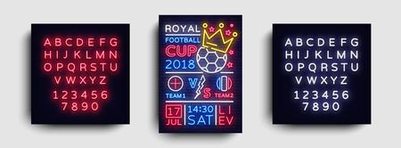 Soccer poster neon vector. Royal Football Cup 2018 postcard flyer design template, light banner, bright brochure soccer championship, invitation to European football. Vector. Editing text neon sign