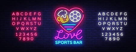 Sports bar logo neon vector. Sports pub neon sign, I love beer and Soccer concept, nightlife bright signboard for sports pub, bar, fan club, soccer cup, football online. Vector Editing text neon sign Ilustração