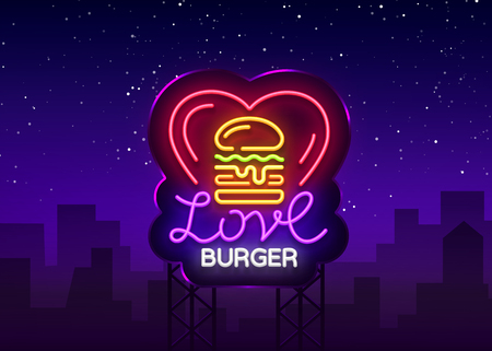 Burger logo vector. Love burger, design template light emblem, burger street food neon sign, light banner, neon night fast food advertisement, billboard design element sandwich. Billboard