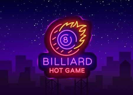 Billiards neon sign. Billiard Hot game logo in neon style, light banner, design template emblem night billiard, bright nightlife advertisement, design element for your projects. Vector. Billboard