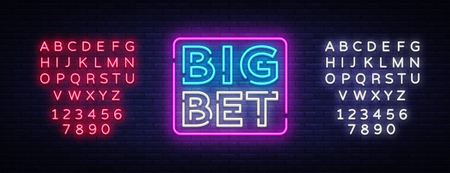 Big Bet Neon sign vector. Light banner, bright night neon sign on the topic of betting, gambling. Editing text neon sign Illustration
