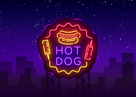 Hot Dog neon sign vector. Hot dog logo in neon style design template, night neon emblem, light banner, bright signboard, light night advertising of fast food for cafe, restaurant, snack bar. Billboard