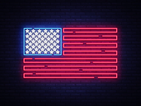 USA flag neon sign. Night bright Signboard USA flag. USA flag vector, neon symbol, light icon. Vector illustration.
