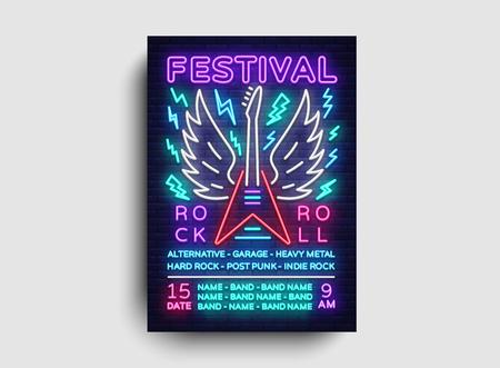 Rock music concert poster vector. Design Template Rock Music Festival, Neon Style, Neon Banner, Light Flyer, Concert Invitation, Rock Roll Music, Night Party Invitation. Vector illustration