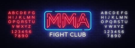 Fight Club neon sign vector. MMA neon symbol logo, design element on night battles, light banner, night neon advertisement. Editing text neon sign.
