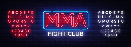 Fight Club neon sign vector. MMA neon symbol logo, design element on night battles, light banner, night neon advertisement. Editing text neon sign.