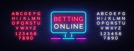 Betting Online neon sign. Gambling slogan, Casino, Betting design element, Night neon signboard. Vector illustration. Editing text neon sign.