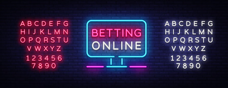 Betting Online neon sign. Gambling slogan, Casino, Betting design element, Night neon signboard. Vector illustration. Editing text neon sign.