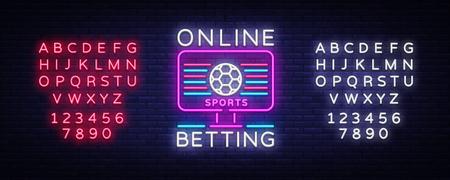 Online betting neon sign. Sports betting. Online betting logo, neon symbol, light banner, bright night advertising, gambling, casino. Vector. Editing text neon sign.