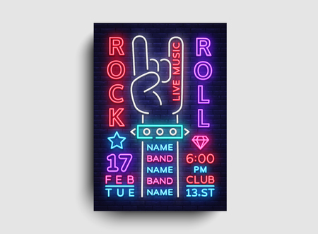 Rock Music Night Party flyer design template. Rock and Roll Neon Sign, Light Banner, Design Rock Concert Invitation, Neon Style, Bright Brochure, Typography, Bright Neon Advertising. Vector. Ilustracja