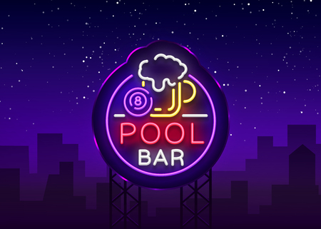 Pool bar sign in neon style.