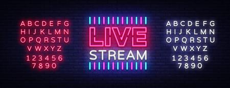 Elemento di design in diretta streaming di segno al neon. Banner luminoso, insegna al neon per notizie e programmi TV, nonché trasmissioni in diretta. Illustrazione vettoriale. Modifica del testo al neon Vettoriali