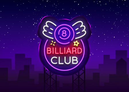 Billiard club neon sign. Design template Bright neon emblem, logo for Billiard Club, Bar, Tournament. Light banner, night sign for your projects. Vector Illustrations. Billboard.