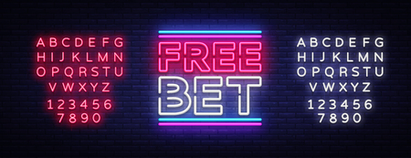 Free Bet Neon sign vector. Light banner, bright night neon sign on the topic of betting, gambling. Editing text neon sign. Illustration