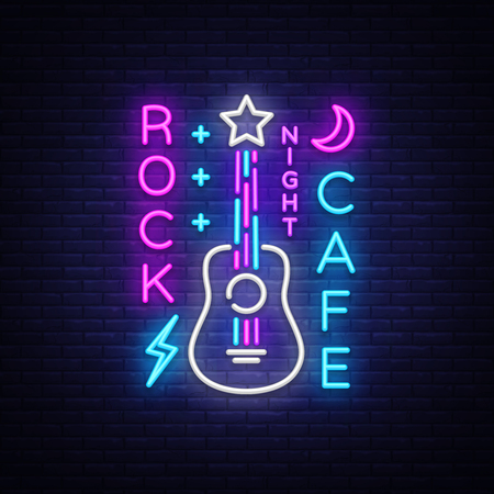 Rock Cafe Logo Neon Vector. Rock Cafe Neon Sign, Concept with guitar, Bright Night Advertising, Light Banner, Live Music, Karaoke, Night Club, Neon Signboard, Design Element. Vector illustration.