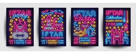 Iftar party invitation collection poster vector template design. Bright Islamic illustration card in modern trend neon style, Light banner, Celebration Islamic holiday Ramadan Kareem, Festive dinner.