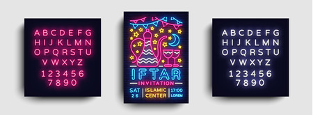 Iftar party invitation design template vector. Iftar Party leaflet flyer modern style, neon style, light banner, bright festive advertising for Islamic festival, Arabic culture. Editing text neon sign