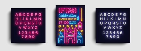 Iftar party invitations poster vector template design. Bright Islamic illustration card in modern trend neon style, banner, Celebration of the Islamic holiday Ramadan Kareem. Editing text neon sign.