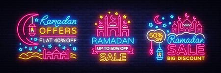 Ramadan Kareem sale offer neon banners collection