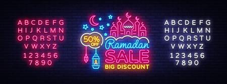Ramadan Sale neon sign with alphabet