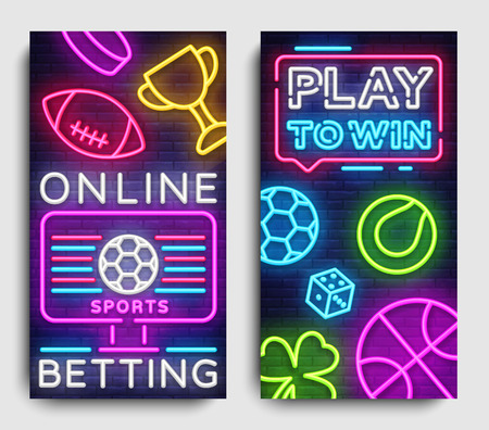 Sports betting vertical banner vector design template. Neon Signs, Light Banner, Bright Night Neon Advertising Bets, Gambling, Casinos. Vector illustration.