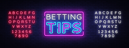 Betting Tips vector. Bet Tips neon sign. Bright night signboard on gambling, betting. Light banner, design element. Editing text neon sign.