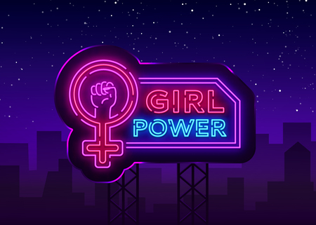Girls Power neon sign. Fashionable slogan feminist slogan, neon style banner light, night bright sign. Vector illustration. Billboard.