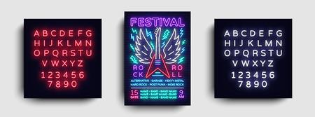 Rock music concert poster vector. Design Template Rock Music Festival, Neon Style, Neon Banner, Light Flyer, Concert Invitation, Rock & Roll Music, Night Party Invitation. Vector. Editing neon sign.