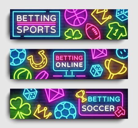Sports betting horizontal banners vector. Design template neon web banner design element for websites, mobile apps, leaflets, flyers. Gambling. Vector illustration.
