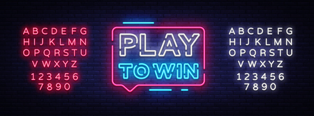 Play to win neon sign. Gambling slogan, Casino, Betting design element, Night neon signboard. Vector illustration. Editing text neon sign. 일러스트
