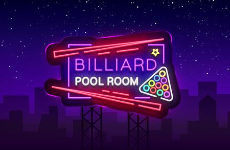 Billiard club neon sign. Billiard pool room Design template Bright neon emblem, logo for Billiard Club, Bar, Tournament. Light banner, night sign for your projects. Vector Illustration. Billboard. Illustration