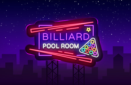 Billiard club neon sign. Billiard pool room Design template Bright neon emblem, logo for Billiard Club, Bar, Tournament. Light banner, night sign for your projects. Vector Illustration. Billboard. Vettoriali