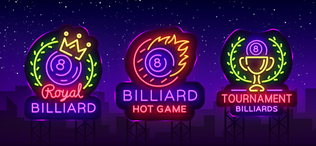 Billiards collection of logos neon style. Neon signs set design template for Billiard bar, club, beer and billiards, royal, light banner, night neon advertisement, design element. Vector. Billboard Иллюстрация