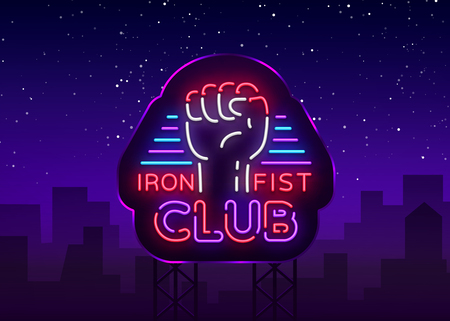 Fight Club Logo in Neon Style. Iron fist club is a neon sign. Sports neon sign on night fighting, mixed fighting, MMA, combat training. Light banner, night bright advertising. Vector. Billboard