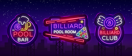Billiards set of neon signs. Collection Design Patterns Bright neon emblem, logo for Billiard Club, Bar, Tournament. Light banner, night sign for your projects. Vector Illustration. Billboard