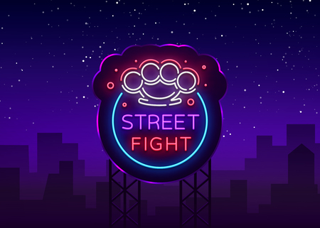 Street fight logo in neon style. Fight Club neon sign. Logo with brass knuckles. Sports neon sign on night fighting, mixed fighting, MMA. Light banner, night bright advertising. Vector. Billboard Illustration
