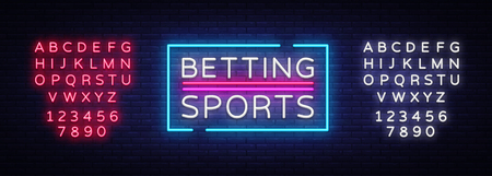 Betting Sports vector. Betting neon sign. Bright night signboard on gambling, betting. Light banner, design element. Editing text neon sign  イラスト・ベクター素材