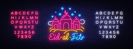 Vector Festive Illustration of Eid-Al-Fitr Neon Label. Ramadan Kareem holiday card Muslim holiday, design template modern trend style, light banner. Islam Vector. Editing text neon sign